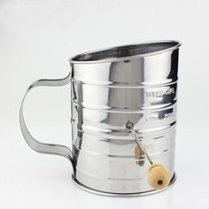 Kisstaker Stainless Steel Flour Sifter Rotary Hand Maximum Capacity 3 Cups >>> You can get additional details at the image link.