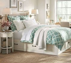 cute bedding-- a little too white for me, same bed in dark wood?