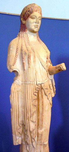 Kore with traces of the original colors (ca. 500-490 BCE) - Acropolis Museum, Athens.