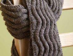 Free Knitting Pattern Meandering Rib Scarf : Lion Brand Yarn Company by Lion Brand Yarn. Loom Knitting, Knitting Stitches, Knitting Patterns Free, Knit Patterns, Free Knitting, Free Pattern, Start Knitting, Mens Scarf Knitting Pattern, Simple Knitting
