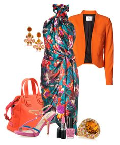 Multicolor Ferragamo by annette1018 on Polyvore featuring polyvore мода style Salvatore Ferragamo Vero Moda Via Spiga Meredith Wendell Kenneth Jay Lane OPI Nicki Minaj fashion clothing mac pink lipstick. kenneth jay lane gold topaz drop clip earrings kenneth jay lane 22-karat gold-plated swarovski crystal ring meredith wendell satchel via spiga gene strappy suede sandal vero moda stockholm blazer opi pink friday nail polish salvatore ferragamo multicolor floral print wrap dress