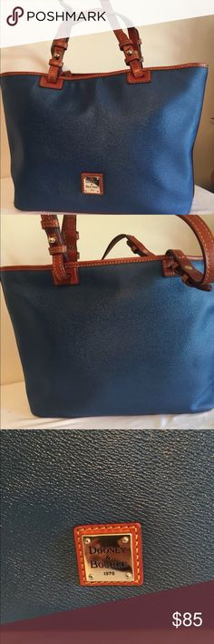Dooney   Bourke Dusty Blue Leisure Shopper Dusty blue pebbled leather Gold  tone hardware Chestnut leather strap drop Zip top closure Immaculate  interior x x ... a248e4a7efc97