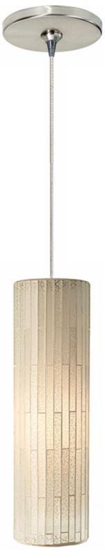 Peyton White Glass Satin Nickel 11-Inch-H Mini Pendant - Euro Style Lighting