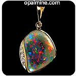 Black opal featured red-orange. Set in 14k Gold with diamonds-$5000 including freight - http://opalmine.com/shop/opal-pendant-4107/