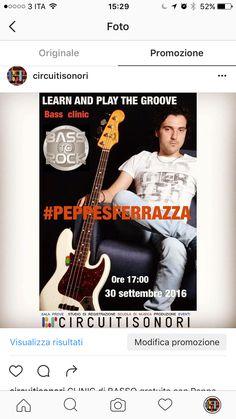 Venerdì 30 ottobre 2016 appuntamento con Peppe Sferrazza. CLINIC di basso elettrico. Ingresso libero.
