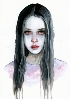 Forsaken by tomasz-mro on art inspo, sad girl art, sad Watercolor Paintings Tumblr, Sad Paintings, Watercolor Portraits, Watercolor Art, Portrait Acrylic, Sad Girl Art, Graffiti Kunst, Arte Obscura, Wow Art