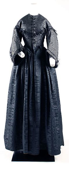 MOURNING, 1840s & 1850sMourning Poke Bonnet, American, 1840Mourning Dress, American, 1845Mourning Dress, American, 1848Mourning Dress, American, 1850-1855Mourning Ensemble, American, 1857-1860All from the Metropolitan Museum of Art exhibit Death Becomes Her: A Century of Mourning Attire