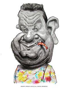 Caricatura del cocinero y presentador de tv Alberto Chicote, realizada por el artista Ernesto Prieg...