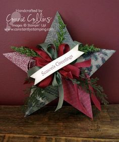 After receiving so many wonderful comments on my last post, I decided to kick it up a notch and make a five-point star using the Deck the Halls DSP from the holiday mini catalog. I just LOVE this DSP! Christmas Star, Diy Christmas Ornaments, Christmas Projects, Winter Christmas, All Things Christmas, Christmas Origami, Christmas 2014, Christmas Ideas, Merry Christmas