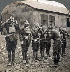 WORLD WAR I: GAS MASKS. American soldiers in France during World War I learning how to use gas masks. Stereograph, 1918.