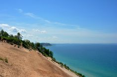Sleeping Bear Dunes and Lake Michigan in many shades of blue.  Home Décor by Diane Greene Lent