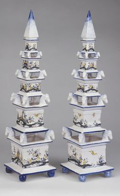 "The Federalist - Earthenware hand painted landscape and birds tulipiere. 33"" High x 8"" Wide x 8"" Deep"