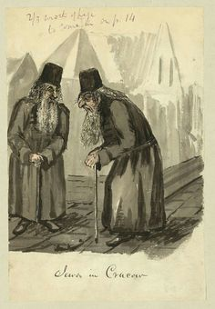 Title:Jews in CracowCreator(s):Taylor, Bayard, 1825-1878, artistDate Created/Published:[between 1856 and 1863]Medium:1 drawing : ink brush and watercolor.Summary:Drawing shows two elderly Jewish men in the Polish city of Cracow. They are dressed in long robes or coats, have long hair and beards, wear round hats and lean against canes. Bayard Taylor may have traveled through Poland in 1856 and 1857 after the death of his first wife or when he served in the Russian legation in 1862 and…