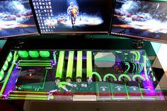 computer rig tower pc gaming setup liquid cooled bf4 battle field wall paper