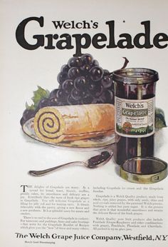 Welch's Grapelade Jelly Jam Vintage 1920s