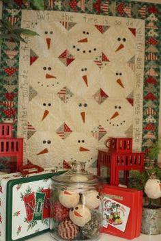 love the snowman rag balls  Temecula Quilt Co