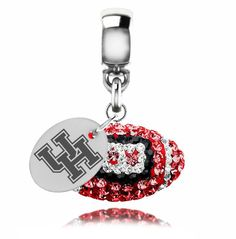 University of Houston Pandora Charms Houston Cougars Sterling Silver Crystal Football College Dangle Charm Jewelry Delaware Blue Hens, Fantasy Gifts, Key To My Heart, Crystal Drop, Charm Jewelry, Pandora Charms, Houston, Charmed, Drop Earrings