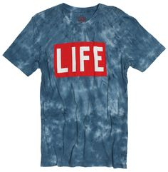 LIFE LOGO TIE DYE SHORT SLEEVE T-SHIRT. This shirt features a blue cloud tie dye wash with the iconic LIFE Magazine's classic logo. - 100% combed ring-spun tie dye blue cotton jersey - Screen printed