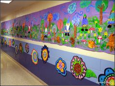 3rd grade mural from Painted Paper art blog. Love the gnomes and toadstools, wind in the sky! Amazing, colorful art lessons and ideas here!! A must-visit if you teach elementary art.