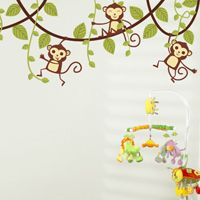 Monkeys Swinging on Vines - Set of 5 - Printed Wall Decals  dalidecals.com