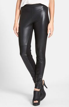 Eileen Fisher The Fisher Project Leather Front Leggings (Regular & Petite) available at #Nordstrom