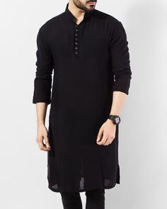 New Trending Indian Shirt Black Cotton Kurta tunic Black solid Plus size loose fit Big and tall Gents Kurta Design, Boys Kurta Design, Kurta Neck Design, Kurta Pajama Men, Kurta Men, Kurta Designs, Dress Designs, Designer Kurtis, Black Casual Shirt