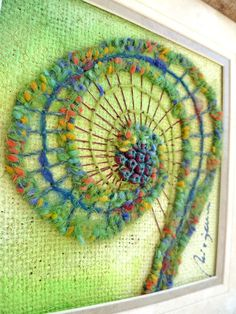Fiber Art - Unfurling XIV, original mixed media Artwork on Etsy ||  not like - love!  /nl