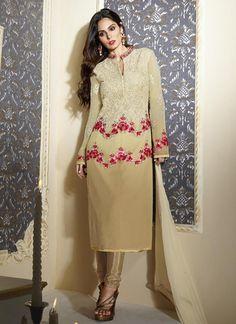 Buy Beige colour georgette party wear straight cut salwar kameez at kollybollyethnics with free worldwide shipping.