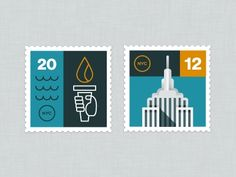 Designspiration — Dribbble - NYC Stamps by Eric R. Mortensen