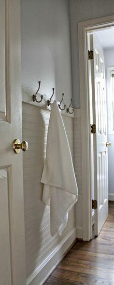 Our Fifth House: Fresh Paint, Beadboard Wallpaper & Towel Hooks