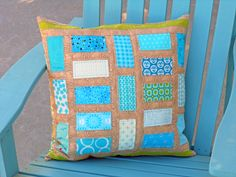 Threadbias: Aqua Urban Seaweed by Gardencrafter. Click through to see the back of the pillow.