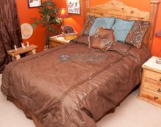 Faux Leather King Size Western Comforter Set Del Rio
