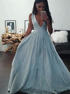 Long Custom Prom Dress, Blue prom dress, Ball