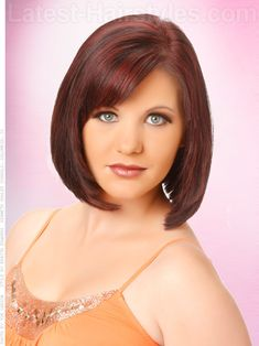 Ruby Red Smooth Bob with Bangs