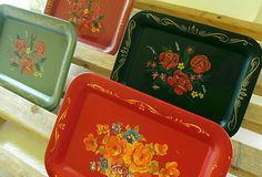 Miniature Metal Trays - Vintage 1940s ToleWare - Set of 4 - Shabby Chic / BoHo Bistro Display