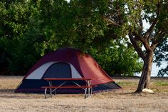 Tent and picnic table at a Florida campground.