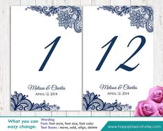 """DiY Printable Table Number Card Template - Instant Download - EDITABLE TEXT - Navy Rustic Burlap lace 4""""x6"""" - Microsoft® Word Format HBC1"""