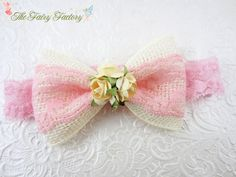 Burlap and Lace Hair Bow Pink & Ivory Hair от TheFairyFactoryShop