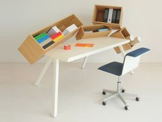 Wooden Writing desk with Bookcase, Design by Bram Boo Bureau Design, Magazine Deco, Boutique Deco, Bookcase Shelves, Desk Storage, Deco Design, Deco Table, Small Rooms, Small Spaces