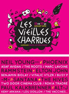 Festival Vieilles Charrues 2013. Du 18 au 21 juillet 2013. Neil Young, Paul Kalkbrenner, Tour Posters, Movie Posters, Two Door Cinema Club, Lou Doillon, 2013, Festivals, Flyers