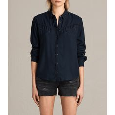 AllSaints Adrienne Shirt ($215) ❤ liked on Polyvore featuring tops, mystic blue, collared shirt, embroidered shirts, long sleeve collar shirt, blue collar shirt and long sleeve tops