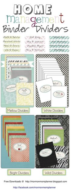 Dividers for Home Management Binder - Free Download