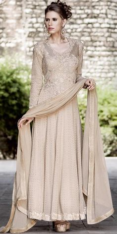 Stupendous Cream Net Anarkali Suit With Dupatta.