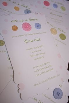 Baby Shower Invitation Cute As A Button by toochiclittleshab, $2.50