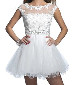Yoghourt Women Applique Lace Short Gowns Mini Cocaktail Prom Dance Pageant Dresses 2 US White -- To view further for this item, visit the image link.