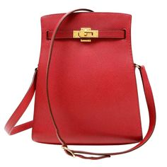 Herm��s Red Epsom Kelly Sport CrossBody Bag