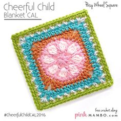 This Cheerful Posy Wheel Granny Square is part of a fun CAL.