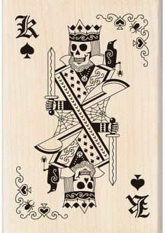 Inkadinkado Skeleton King Playing Card Wood Stamp. Create a spooky impression on Halloween cards, gift tags and scrapbook pages with the Inkadinkado Skeleton Ki