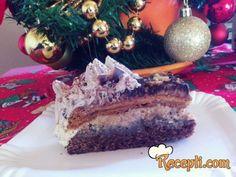 Recept za Snickers torta. Za spremanje poslastice neophodno je pripremiti belanca, fruktozu,, kikiriki, brašno, čokoladu, žumanca, mleko, prašak za pecivo, keks, rum, šlag.