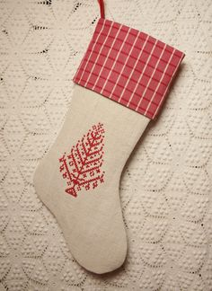 Vintage French Linen Christmas Stocking with Redwork Antique Point de Croix Tree and Ticking Cuff. $82.50, via Etsy.